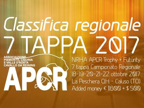 Classifica regionale dopo la 7 tappa APCR 2017