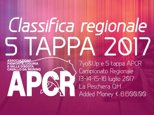 Classifica regionale dopo la 5 tappa APCR 2017