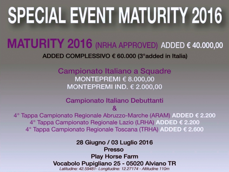 Special event Maturity IRHA 2016